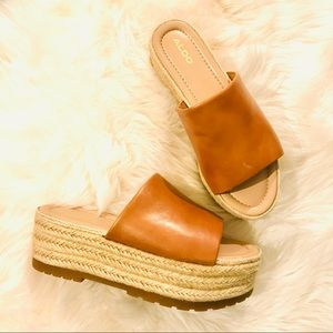 Aldo Cabernet Wedge Heel Sandal [Cognac] (Size 8)